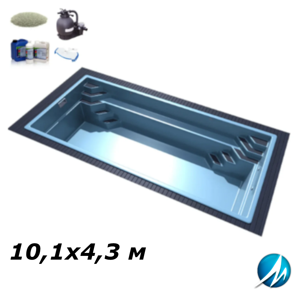 Комплект обладнання для скловолоконного басейну 10,1х4,3 м