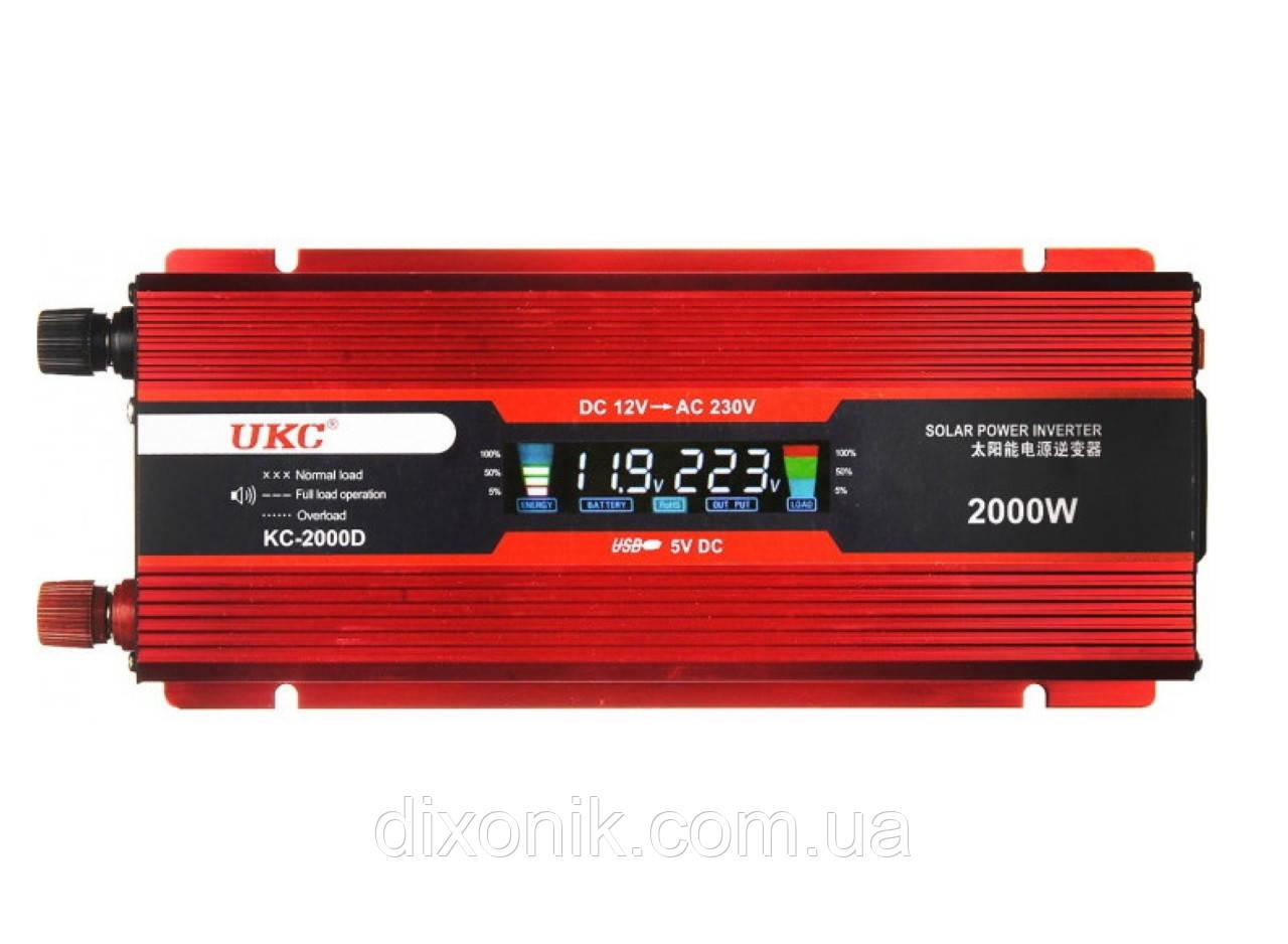 Инвертор преобразователь напряжения Power Inverter UKC 2000W KC-2000D с LCD дисплеем 12V в 220V