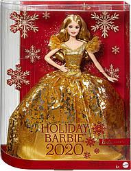 Кукла праздничная новогодняя холидей барби блондинка 2020 Barbie Signature Holiday в желтом золотистом платье