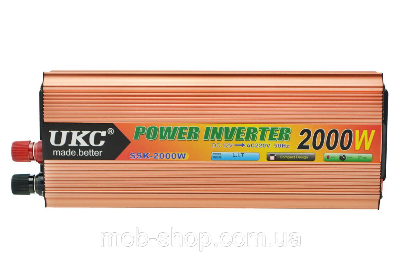 Преобразователь напряжения автомобильный инвертор  UKC 12V в 220V 2000W