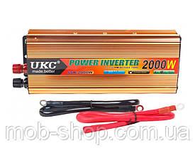Инвертор преобразователь напряжения 2000W 24V в 220V AC/DC для грузовиков фур