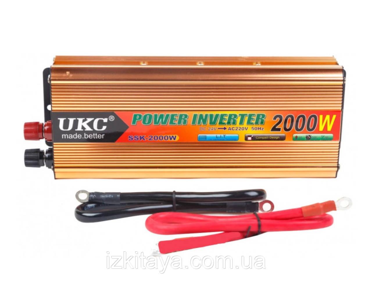 Инвертор преобразователь напряжения 2000W 24V в 220V AC/DC