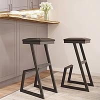 Барный табурет в стиле лофт Сет Металл-Дизайн с подножкой и мягким сиденьем из эко-кожи