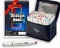Скетч маркеры Touch Multicolor 60 шт. + Скетчбук (Альбом для скетчинга А5 250 г/м2 50 листов) в подарок!