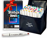 Скетч маркеры Touch Multicolor 40 шт. + Скетчбук (Альбом для скетчинга А5 250 г/м2 50 листов) в подарок!