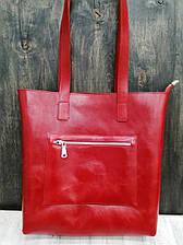 Шоппер на молнии с подкладкой и внешним карманом на молнии кожа алькор Красный