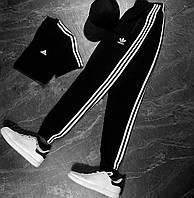 Комплект мужской Спортивные штаны + Футболка Adidas черный | Спортивный костюм мужской Адидас весенний летний