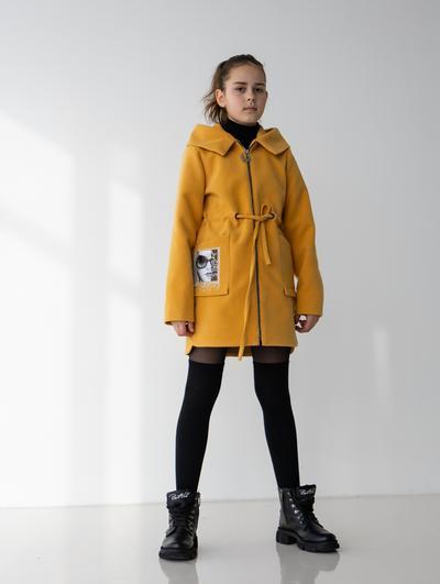 Дитяче кашемірове пальто з малюнком на кишені