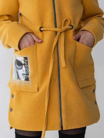 Дитяче кашемірове пальто з малюнком на кишені, фото 2