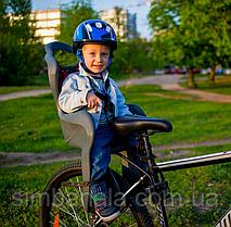 Заднє дитяче велокрісло Elibas design з кріпленням на раму(темно-сіре)