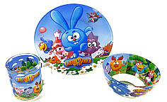 Детский набор стеклянной посуды для кормления Смешарики 3 предмета Metr+