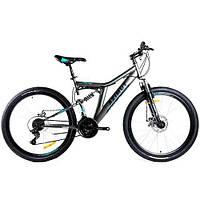 Велосипед Azimut Blackmount 26 дюймов. Дисковые тормоза. Серо-голубой