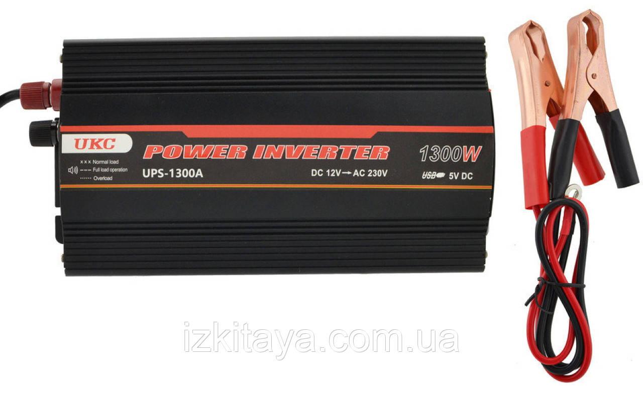 Інвертор перетворювач напруги UKC 1300W з Зарядкою 12V в 220V