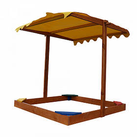 """Детская деревянная цветная песочница с навесом """"Sahara"""" ТМ Sportbaby, размер 1.5х1.45х1.45м"""