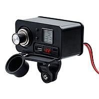 USB мото зарядка на кермо,CS-1272A1  USB + type-c, прикуриватель , 12-24 V WUPP, на руль/под болт