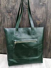 Шоппер на молнии с подкладкой и внешним карманом на молнии кожа алькор Зеленый