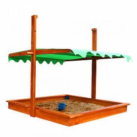 Детская деревянная песочница с навесом ТМ Sportbaby, размер 1.45х1.45х1.4м