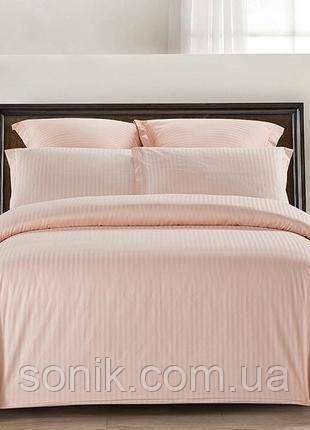 Комплект постельного белья страйп сатин Розовая пудра 1*1 евро