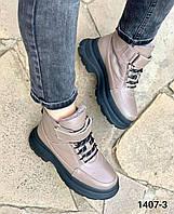 Кожаные капучино женские зимние ботинки зимние 39, фото 1