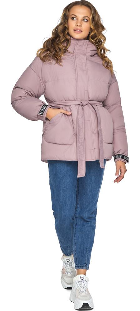 Трендова куртка пудрова жіноча модель 21045