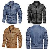 JP original Мужская байкерская куртка PU кожа, фото 2