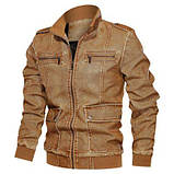 JP original Мужская байкерская куртка PU кожа, фото 4