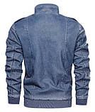 JP original Мужская байкерская куртка PU кожа, фото 5