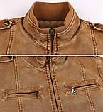 JP original Мужская байкерская куртка PU кожа, фото 7