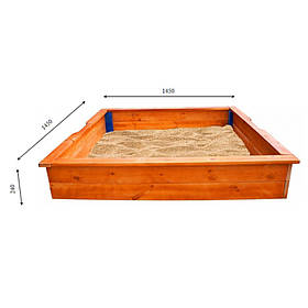 Детская деревянная песочницаТМ Sportbaby, размер 1.45х1.45х0.25м