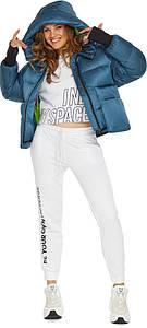 Куртка с трикотажными манжетами аквамариновая женская модель 26370