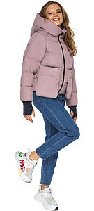 Куртка на змейке пудровая женская модель 26370
