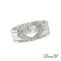 Серебряное кольцо Сердце Радированное для Помолвки, фото 1