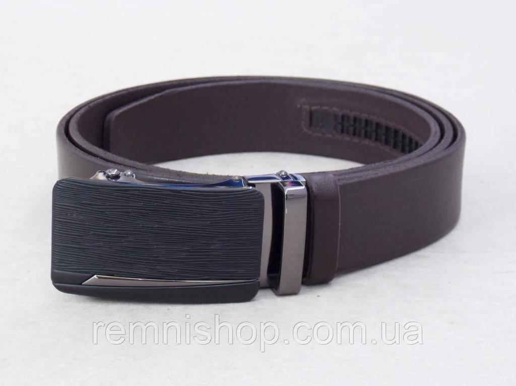 Коричневый ремень мужской кожаный автоматическая пряжка