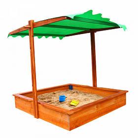 Детская деревянная песочница с навесом и крышкой ТМ Sportbaby, размер 1.5х1.45х1.45м