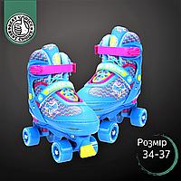 Роликовые коньки для детей раздвижные NILS EXTREME Ролики-квады Передний тормоз Голубой (NQ4411A)34-37
