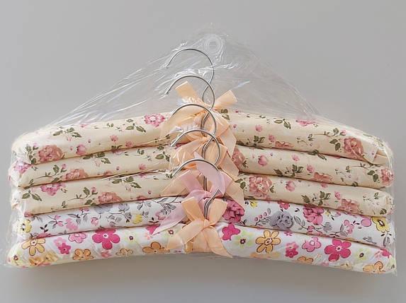 Плечики вешалки тремпеля мягкие тканевые для деликатных вещей цветастые, длина 38 см,в упаковке 5 штук, фото 2