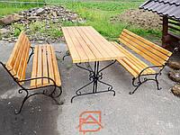 """Комплект садовой мебели """"Ковка"""" стол и 2 лавочки деревянные"""