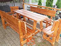 """Комплект садовой мебели """"Дерево"""" стол 2 лавочки и 2 стульчика деревянные"""