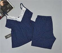 Женская пижама большие размеры. Комплект майка шорты из вискозы Este 704.