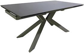 Стол обеденный раскладной стеклянный с камнем серо-бежевый DAOSUN RF 5205 DT