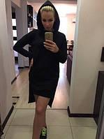 Платье спортивное, перед короткий,спинка длинная,,с капюшоном, 3 цвета