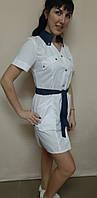 Медичний жіночий халат Тіффані бавовна короткий рукав