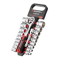 """Набір головок 1/2"""" 8-32 мм, подовжувач, рукоятка з храповим механізмом 72 зуба, 20ед., Cr-V STORM INTERTOOL"""