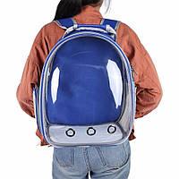 Рюкзак-переноска для котов и собак   Прозрачный рюкзак для переноски животных Pet Cat кошек и собак Синий