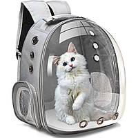 Рюкзак-переноска для котов и собак   Прозрачный рюкзак для переноски животных Pet Cat кошек и собак Серый