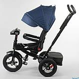 Дитячий триколісний велосипед коляска Baby Trike 6088 з ігровою панеллю і поворотним сидінням Синій, фото 9