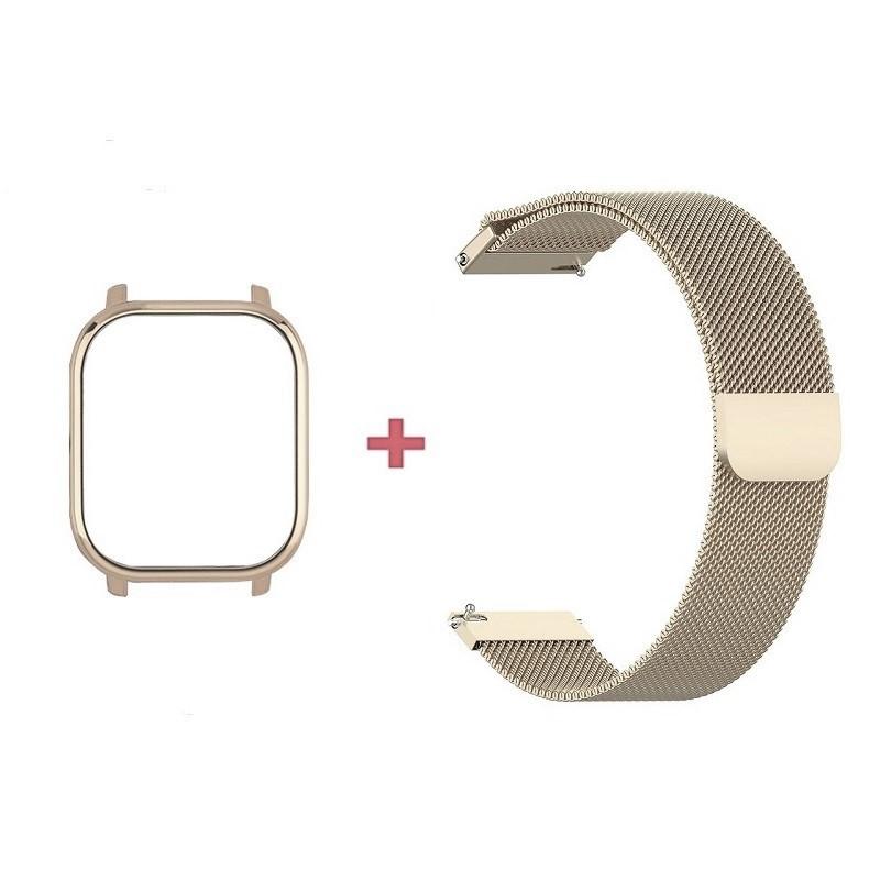 Amazfit GTS Комплект для смарт часов (металлический магнитный ремешок и бампер), Vintage gold
