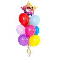 """Разноцветная связка воздушных шаров с радужной звездой """"Happy Birthday"""""""