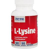 Jarrow Formulas, L-Lysine, L-Лизин Незаменимая аминокислота для белкового обмена 500 мг, 100 капсул