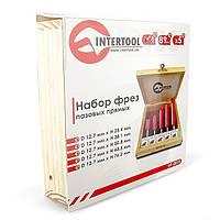 Набор фрез пазовых прямых INTERTOOL HT-0075 : в деревянном кейсе